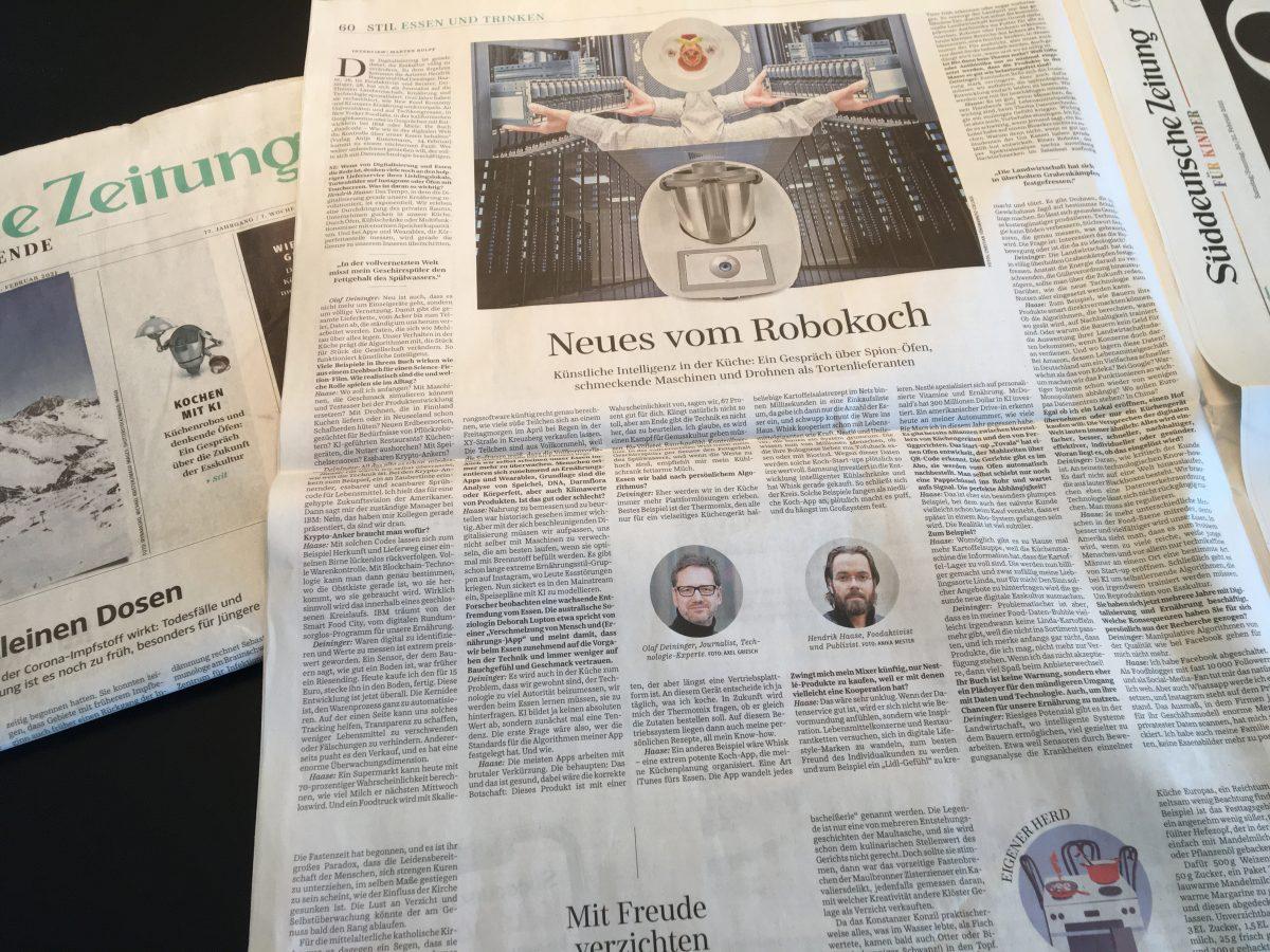 Süddeutsche Zeitung 20. Februar 2021 Interview zu Food Code - Hendrik Haase und Olaf Deininger