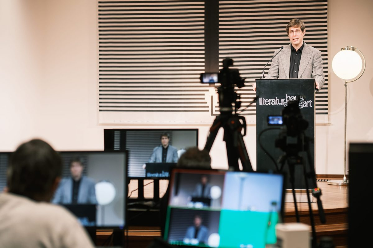 Autor Daniel Kehlmann bei der 1. Stuttgarter Zukunftsrede im Literaturhaus Stuttgart
