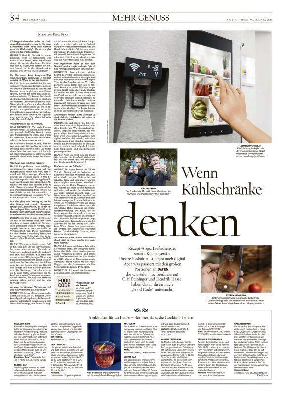 Der Tagesspiegel 14.03.2021 Food Code Interview Olaf Deininger